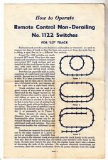 [43728] 1952 Lionel Remote Control Non-Derailing No. 1122 Switches Instructions