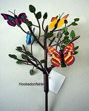Miniature Metal Leafy Tree w 4 randomly picked Magnetic Butterflies Fairy Garden