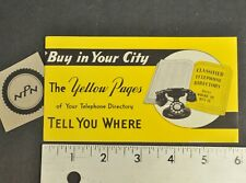 Antique Vtg Yellow Pages Classified Telephone Directory Advertisement Card