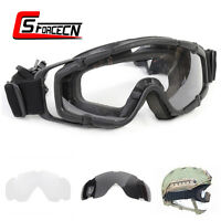 Airsoft Military Tactical Glasses Goggle with 2pc of Lens for Helmet w/Side Rail