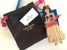 NWT Kate Spade Leather Hawaii Hula Girl Keyfob Charm Dance Perfect Gift in Box