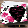 Beautiful Pink Black & White Floral Engagement Party Personalised Invitations