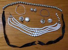 Vintage pearls pastel beads necklaces belt bracelet Marvella earrings 7 jewelry