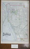 "Vintage 1903 BUFFALO NEW YORK Map 14""x22"" ~ Old Antique Original NIAGARA FALLS"