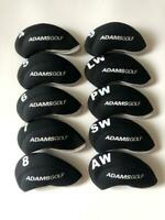 10PCS Golf Iron Headcovers for Adams Club Head Covers 4-LW Black&Black Universal