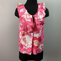 LILLY PULITZER Women's Floral Print Ruffled blouse xs pink flowers sleeveless