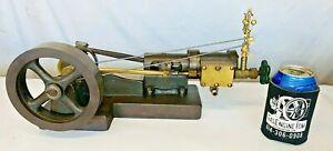 Steam Engine w/ Brass Vertical Governor Hit Miss Engine Antique Model Flywheel