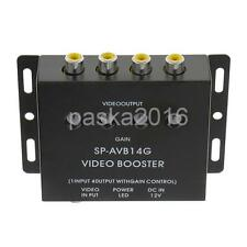 Car Video Ampplifier/Video Booster 1 to 4 RCA Splitter for DVD/TV Signal