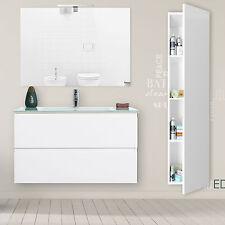 Mobile bagno 90 cm sospeso bianco laccato con 2 cassetti colonna e specchio