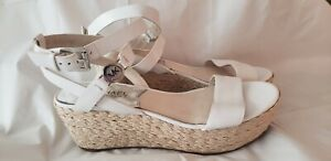 MICHAEL KORS Womens Shoes wedge Jalita Sandal Leather 6 M Ankle Strap