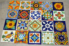"""20 MEXICAN TALAVERA POTTERY 4x4"""" Tiles Clay Hand Painted"""