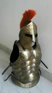 Medieval Armor MUSCLES JACKET With Spartan Helmet Antique With Plume HALLOWEEN