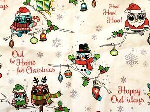 Cherokee Christmas Holidays scrub top women M MEDIUM owls owl-idays