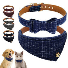 Luxury Bowknot Dog Collar Bandana Collar Necklace Soft Leather Padded for Puppy
