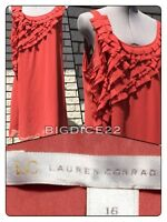 LC Lauren Conrad Dress Womens 16 Copper Rust Ruffle Sleeveless Slip Lined Shift
