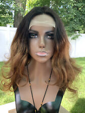 """Fake Scalp Lace Front 100% Real Human Hair Wig Silk Base Ombre 22"""""""