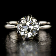 Solid 14K White Gold Size 5 7 8 Solitaire 0.40 Ct Round Cut Diamond Wedding Ring
