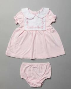 Spanish style  Baby Girls Dress and Knickers COTTON Pink Floral 0-3 3-6b6-12 m