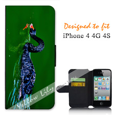 For Apple iPhone 4 4G 4S Wallet Flip Phone Case Cover Black Swan Y00802