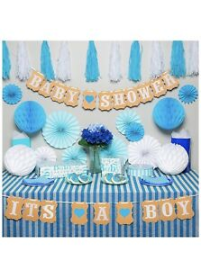 Premium Baby Shower Decorations For Boy Kit It'S A W Striped Tablecloth 2 Banner