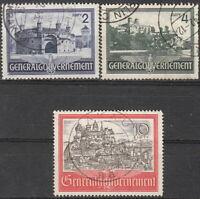 Stamp Germany Poland General Gov't Mi 063-65 Sc N73-5 1941 WWII Castle Used
