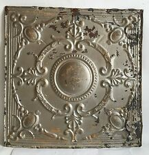 "1890's 24"" x 24"" Antique Reclaimed Tin Ceiling Tile Silver Metal Anniversary B79"