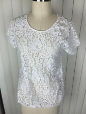 Madewell Women's White Floral Crochet Nylon Cotton Knit Top XS