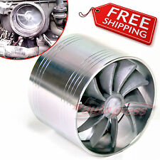 "2.5""-3.0"" AIR INTAKE FAN Turbo Turbonator TURBINE Charger Gas Fuel Saver SILVER"