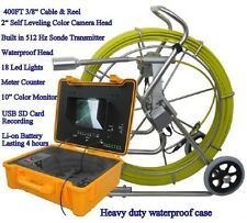 """Sewer Drain System 10"""" LCD 400 FT Pipe  2"""" Inspection Camera  USB  Meter Counter"""