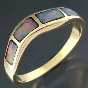 A low Wave of Inlaid PRECIOUS WHITE CRYSTAL OPAL 14k Solid Yellow GOLD RING Sz O