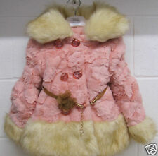 Girls Toddler Pink Coat Faux Fur infants wedding warm new winter