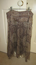 Brown Sugar lined brown and buff silk midi skirt uneven hemline size 12 as new