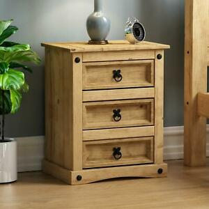 Corona 3 Drawer Bedside Chest Mexican Solid Pine Wood Waxed Rustic Finish