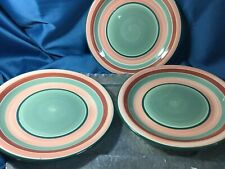 """Set Of 3 PIER 1 La primula 10"""" Handpaint Pottery Dinner Italy green brown bands"""