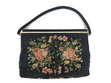 Vintage Mid Century Beaded Tapestry Floral Handbag Purse Goldtone Metal Frame