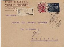 1,25L PARMEGGIANI+60c MICHETTI-Raccomandata viaggiata Rimini->Vicenza 11.9.1926