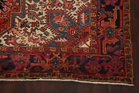 Antique Geometric Long-Wearing Red Heriz Area Rug Hand-knotted Wool Carpet 8x11