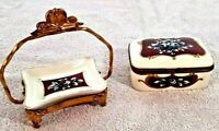 "Lot of 3 Antique Porcelain Hinged Lid 4"" Trinket Box +5"" Tray Brass Stand France"