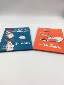 2 Dr. Seuss Books in Spanish, The Cat In The Hat & Green Eggs And Ham.