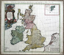 BRITISH ISLES, Britain,UK, HOMANN Heirs, original antique hand coloured map 1749