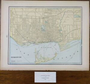 "Vintage 1900 TORONTO CANADA Map 14""x11"" Old Antique Original FOREST PARK BEDFORD"