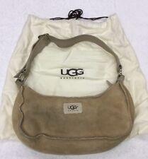 UGG AUSTRALIA Small Natural Classic Tan Suede Shoulder Bag Purse W Storage Tote