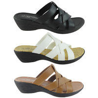 New Womens Sandals Slides Peep Toe Wedge Shoes Low Heels Black,Tan,White