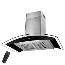 """36"""" Wall Mount Stainless Steel Tempered Glass Touch Panel Kitchen Range Hood"""