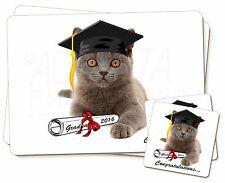 Graduation Blue Cat 'Congratulations 2016' Twin 2x Placemats+2x Coaste, GRAD-4PC