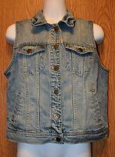 Womens Prefaded Denim American Living Vest Size Medium NWOT NEW