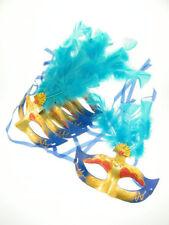 6x Maske Augenmaske Venezia Federn Blau Karneval Maskenball