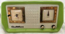 1956 Electrohome Teletune Clock Radio - Lime-Green - Tube- Vintage - Works!
