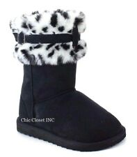 Women Faux Fur Shearing Leopard Collar Mid Calf Tall Snow Slip On Winter Boots