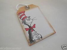 """Dr Seuss Cat In Cat 4"""" Tie On Gift Tags Set Of 6 Helps Feed Vet Rescued Cats"""